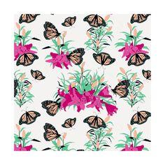 Lilies Garden - Fuchsia Turquoise  instagram.com/tseihadesign  #lily #garden #botanical #botanicalillustration #gardendesign #seamlesspattern #surfacedesign #surfacepattern #design #designers #colorful #butterfly #illustration #illustrationart