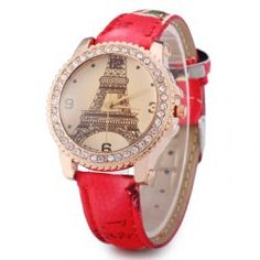 Womage 9953 Female Diamond Bezel Quartz Watch with Printed Leather Strap Tower…