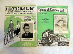 Vintage-Sheet-Music-Wabash-Cannon-Ball-and-A-Bicycle-Built-for-Two-Daisy
