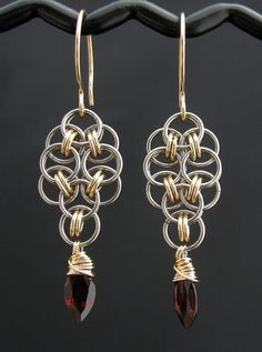 Red Garnet Chainmaille Earrings 14k #Jewelry #bracelet #gold| http://ringslera.blogspot.com