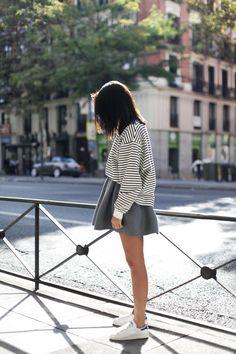 stripe sweater, grey skirt, adidas stan smith