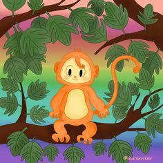 Happy Monkey #monkey #animals #art #artwork #illustration