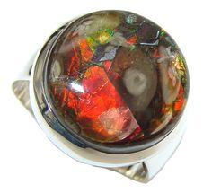 $120.50 Lovely! AAA Red Ammolite Sterling Silver ring s. 9 at www.SilverRushStyle.com #ring #handmade #jewelry #silver #ammolite