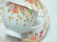 "Royal Albert ""Virginia"" Orange Flowers Leaves Hand Painted Tea Cup and Saucer Vintage Fine Bone China Made in England"