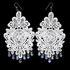 White Lace Appliqué with Glass Tear Drop Earrings &  Hypoallergenic Titanium Ear Wires with Swarovskis - JnE
