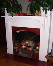 Using and old dresser, would love to have someplace to hang stockings Classic Fireplace, Simple Fireplace, Candles In Fireplace, Fake Fireplace, Paint Fireplace, Brick Fireplace Makeover, Fireplace Mirror, Concrete Fireplace, Traditional Fireplace