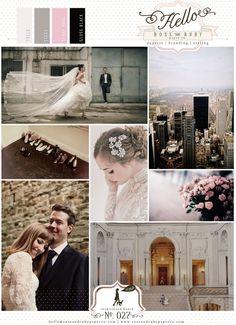 Monochrome black tie & pink spray roses wedding inspiration board.