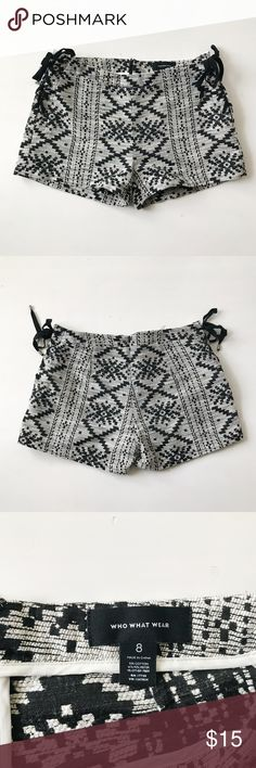 Who What Wear Lace Up Aztec Shorts Aztec print shorts with lace up sides. Like new condition. Who What Wear Shorts