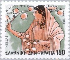 切手: Gods of Olympus - Demetra (ギリシャ) (Greek Mythology) 1986 Sacred Plant, Postage Stamp Collection, Rare Stamps, Postage Stamp Art, Triple Goddess, Greek Art, Fauna, Mail Art, Stamp Collecting