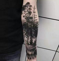 We provide a large rich gallery of wolf tattoo designs for both men and women that will make you squeal to have one. We will be discussing the meaning and perfect body placement for the wolf tattoo. Forest Tattoo Sleeve, Wolf Tattoo Sleeve, Forest Tattoos, Nature Tattoos, Sleeve Tattoos, Tattoo Wolf, Tiger Tattoo, Wolf Sleeve, Tattoo Sleeves