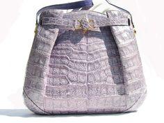 1980's Lavender Alfred Roth Crocodile Skin Shoulder Bag