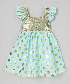 Look at this Mint & Gold Sequin Angel-Sleeve Dress - Infant, Toddler & Girls on #zulily today!