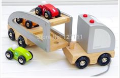 Free shipping  authentic French janod brand camion multi bolides Removable wooden Truck with 3 cars  educational toys