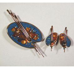 artist palette copper enamel pin