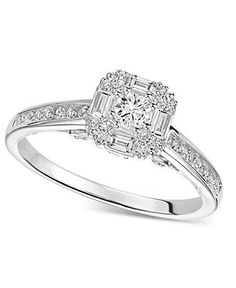 Diamond Promise Ring 12 ct tw Round cut 10K White Gold Wedding