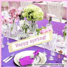 The Party Goddess!, LA's best full-service event planner who can make any party ridiculously fabulous, dishes on floral and non-floral table decor. Happy Spring, Host A Party, Flower Centerpieces, Home Decor Inspiration, Event Decor, Event Design, Tablescapes, Event Planning, Floral Arrangements