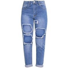 Kourtney Light Wash Extreme Rip Boyfriend Jean (£32) ❤ liked on Polyvore featuring jeans, destructed boyfriend jeans, distressed jeans, blue jeans, ripped boyfriend jeans and torn boyfriend jeans