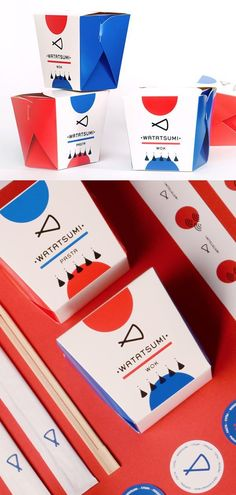 Watatsumi Graphic Design, Branding, Packaging Rebranding for the food delivery service in Dnepr called Watatsumi. Graphic elements are simple and expressive geometric forms, that describe an Eastern c Food Branding, Food Packaging Design, Packaging Design Inspiration, Brand Packaging, Packaging Ideas, Food Graphic Design, Food Logo Design, Graphic Design Branding, Sushi Logo