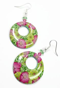 Flower Garden Millifiori Pink & Yellow Hoop by BeadazzleMe on Etsy, $16.00 customer says: I love these earrings, perfect for Summer fun!