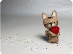 Kat Cat  needle felted wool brooch crystal bead by KaffeeKatze, $23.00
