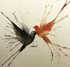 Watercolor painting of birds