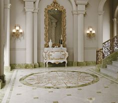 Elegant home interior with marble floor and an amazing dressing table  #marble #floor #home #interior #naturalstone
