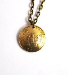 Phoenix Necklace Greek Owl Coin Pendant 1 Drachma by Hendywood