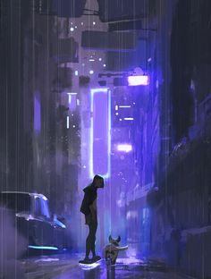 Cyberpunk by Atey Majeed Ghailan (aka Cyberpunk City, Ville Cyberpunk, Cyberpunk Kunst, Cyberpunk Aesthetic, City Aesthetic, Aesthetic Anime, Cyberpunk Anime, Cyberpunk 2077, Animes Wallpapers