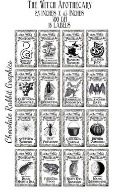 Witch Halloween Potion Bottle Label Clip Art - Original Design Vintage Printable Apothecary Jar Images in Black and White.    The labels are 4.3