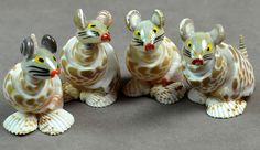 "Natural Sea Shells Small Rats Figurines 2"" Ht 4 Pcs Indian Collectable Décor"