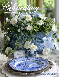 Beautiful blue + white tablescape by Celebrating Everday Life