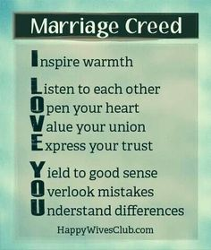 Marriage Creed from the HappyWivesClub.com
