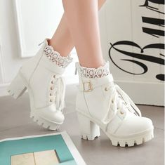 Buy Autumn and Winter New Fashion Women's Thick High Heel Ankle Boots Ladies Leather Lace Up Martin Boots Sweet Lace Student Shoes Bottes Botines at Wish - Shopping Made Fun Platform Boots, High Heel Boots, Heeled Boots, Shoe Boots, High Heels, Calf Boots, Shoes Heels Boots, Lace Heels, Dsw Shoes
