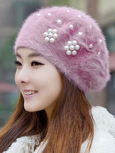 Lady Elegant Stylish Beading Decoration Woolen Hats For Winter - shop. Knitted Hats, Crochet Hats, Crochet Clothes, Velvet Heart, Hat Shop, Hats Online, Lace Embroidery, Womens Fashion Online, Latest Fashion