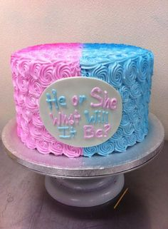 "Tiffany's Bakery in Philadelphia baked this custom ""He or She, What Will It Be?"" gender reveal cake. With a cute rhyme to keep your family and friends guessing, this cake is covered in beautiful pink and blue icing swirls."