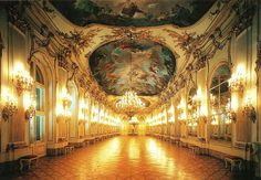 The gold ballroom in Schonbrunn - Vienna, Austria.  This is where Andre Rieu's joint performance with the Viennese debutantes was celebrated.