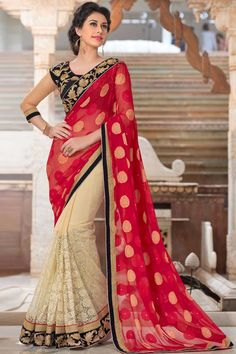 Cream and maroon Georgette Saree With Velvet Blouse Cream and maroon georgette saree with blue and cream velvet blouse.  Embellished with embroidered, zari and stone.  Saree comes with round neck blouse.  Product are available in 34,36,38,40 sizes. It is perfect for casual wear, festival wear, party wear and wedding wear.  Zari, resham embroidery with stone work and lace border