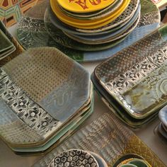Pottery, slab mold dishes
