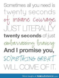 sometimes all you need is twenty seconds of insane courage. just literally twenty seconds of just embarrassing bravery and I promise you something great will come of it