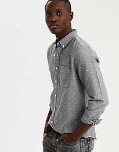 e70d4ecfdb7 AE Seriously Soft Printed Oxford Button-Down Shirt