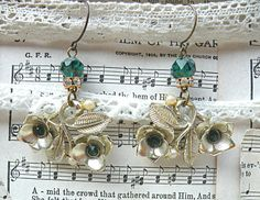 golden flower dangle earrings assemblage summer by lilyofthevally