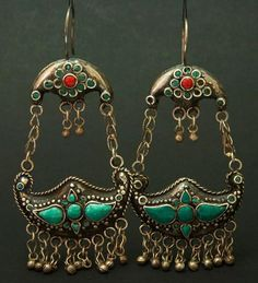 Afghanistan | Pair of old Turkoman earrings, decorated with turquoise cabochons