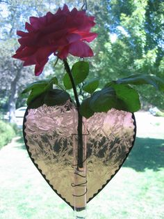 Stained Glass Heart Vase Suncatcher Stained by PassionFlowerGlass, $14.00