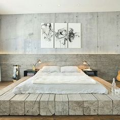 Platform bed made out of 12×12 inch reclaimed logs, anchored by two bent steel plates for side tables (by @subu_designarchitecture) #bedroom #bed #reclaimedwood #industrial #steel #concrete #roughluxe #art #wood #designporn #decoration #designideas #home #instadesign #instadecor #instafollow #instalike #homedecor #homedesign #interiordesign #design #decor #followme #furniture #like4like