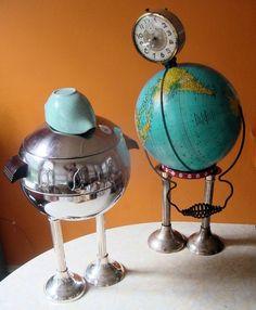 MR PENGUIN retro 1950s chrome ice bucket art assemblage