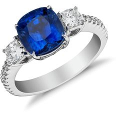 Blue Nile Cushion-Cut Sapphire and Diamond Three-Stone Ring in 18k... ($10,250) ❤ liked on Polyvore