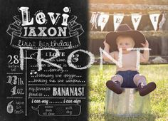 2sided First Birthday Chalkboard Invitation  by JustPeachyKeene, $15.00...but love the idea of having a board at the party