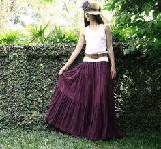 NO.5 Reddish-Purple Cotton, Hippie Gypsy Boho Tiered Long Peasant Skirt.  via Etsy.