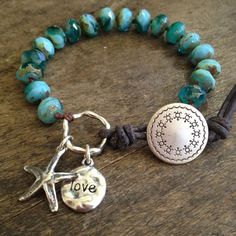 Starfish Knotted Turquoise Aqua Blue Leather by TwoSilverSisters