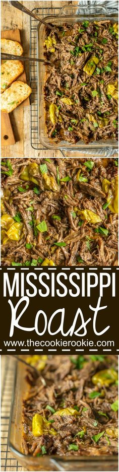This MISSISSIPPI ROAST is the absolute best slow cooker roast beef you will EVER make! Made famous throughout the years, you just have to try this! Perfect crockpot roast beef for sandwiches, tacos, and beyond! via @beckygallhardin